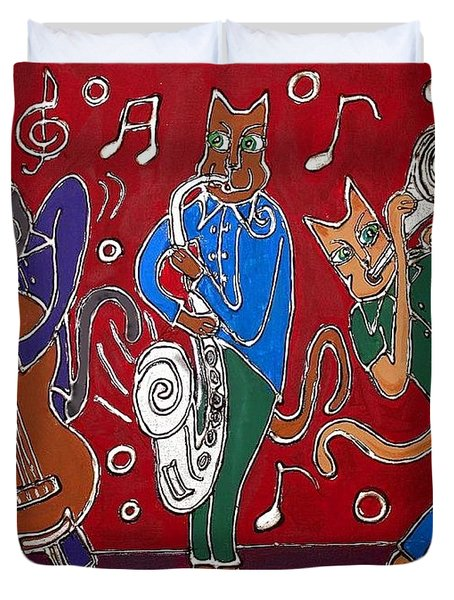 Jazz Cat Trio Duvet Cover by Cynthia Snyder
