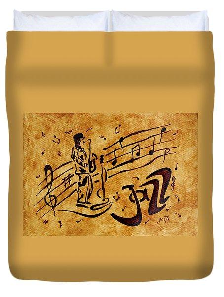 Jazz Coffee Painting Duvet Cover by Georgeta  Blanaru
