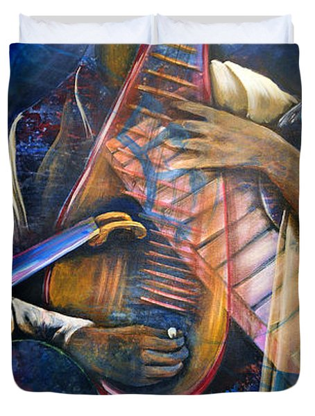 Jazz In Space Duvet Cover by Ka-Son Reeves