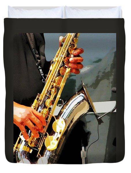 Jazz Man Duvet Cover by John Freidenberg