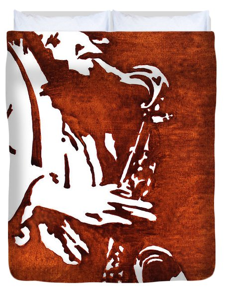 Jazz Saxofon Player Coffee Painting Duvet Cover