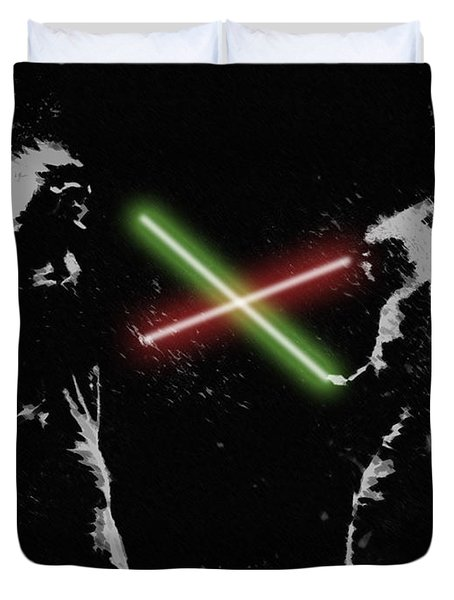 Jedi Duel Duvet Cover by George Pedro