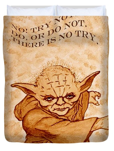 Duvet Cover featuring the painting Jedi Yoda Wisdom by Georgeta  Blanaru