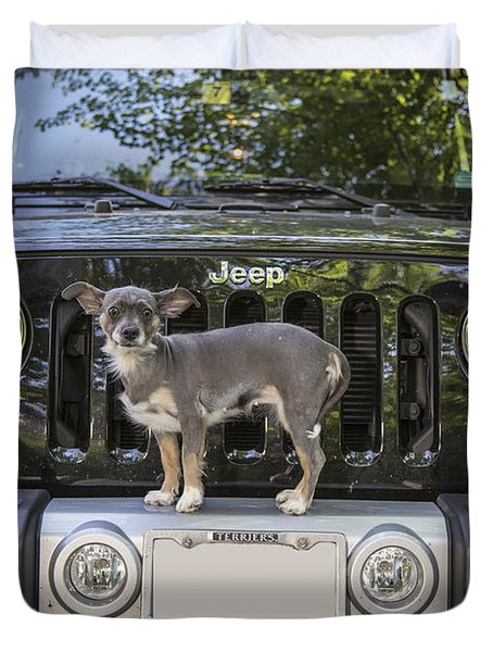 Jeep Dog Duvet Cover by Edward Fielding