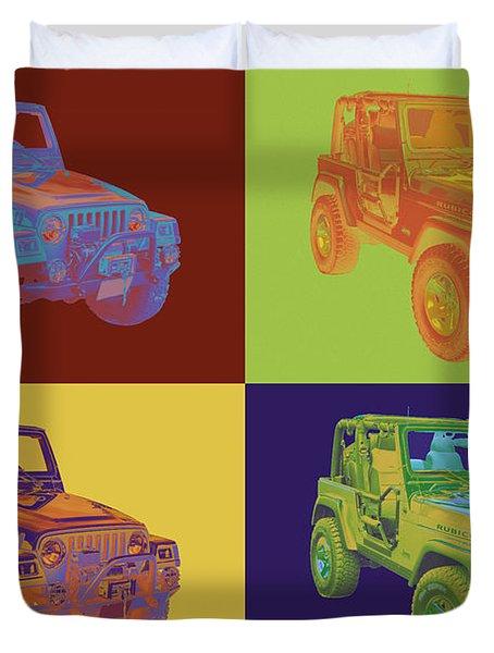 Jeep Wrangler Rubicon Pop Art Duvet Cover