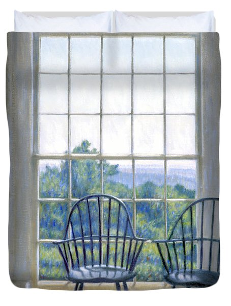 Jefferson And A Friend At Monticello Duvet Cover by Candace Lovely