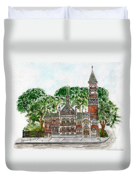 Jefferson Market Library Duvet Cover by AFineLyne