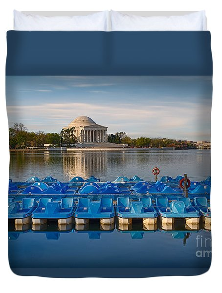 Jefferson Memorial And Paddle Boats Duvet Cover by Jerry Fornarotto