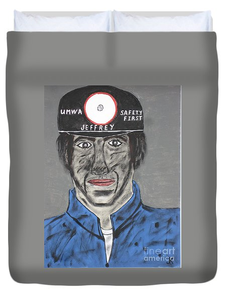 Duvet Cover featuring the painting Jeffrey The Coal Miner by Jeffrey Koss