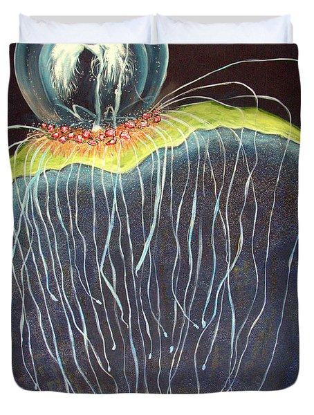 Duvet Cover featuring the painting Jellyfish.. by Jolanta Anna Karolska