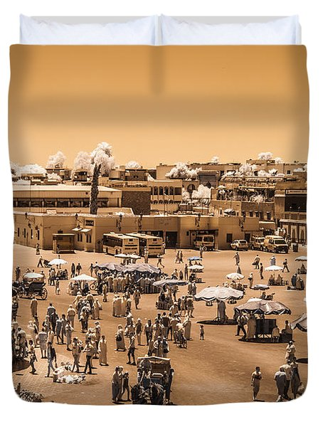 Jemaa El Fna Market In Marrakech At Noon Duvet Cover