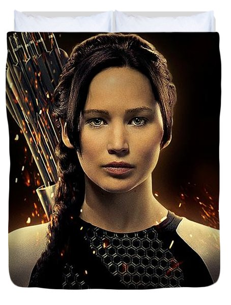 Jennifer Lawrence As Katniss Everdeen Duvet Cover