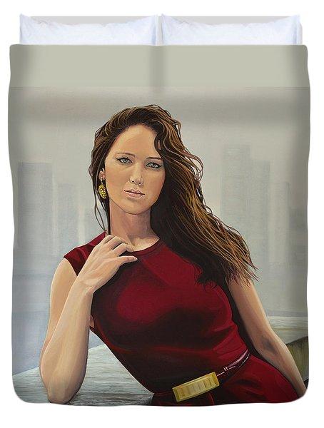 Jennifer Lawrence Painting Duvet Cover