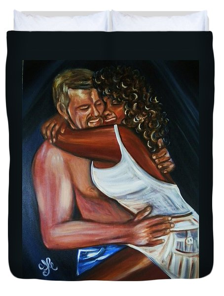 Jenny And Rene - Interracial Lovers Series Duvet Cover