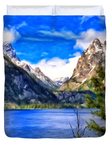 Duvet Cover featuring the painting Jenny Lake by Michael Pickett