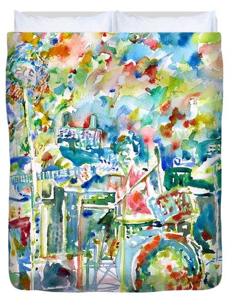 Jerry Garcia And The Grateful Dead Live Concert - Watercolor Portrait Duvet Cover
