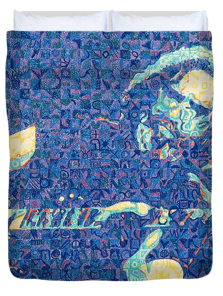 Jerry Garcia Chuck Close Style Duvet Cover by Joshua Morton