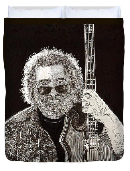 Jerry Garcia String Beard Guitar Duvet Cover