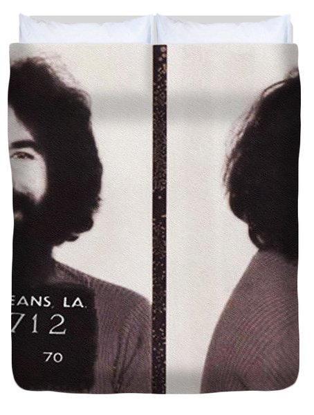 Jerry Garcia Mugshot Duvet Cover by Bill Cannon