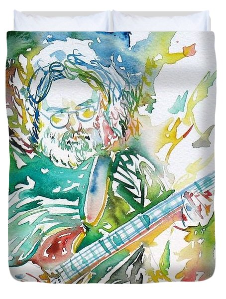 Jerry Garcia Playing The Guitar Watercolor Portrait.1 Duvet Cover