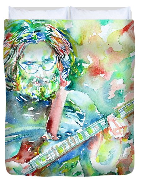 Jerry Garcia Playing The Guitar Watercolor Portrait.3 Duvet Cover