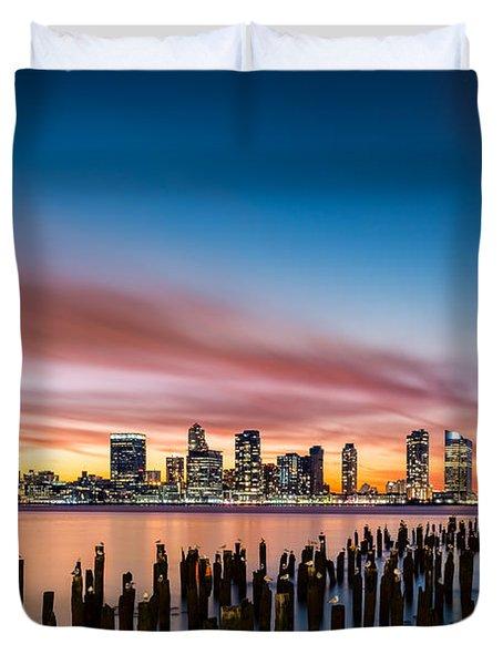 Jersey City Skyline At Sunset Duvet Cover