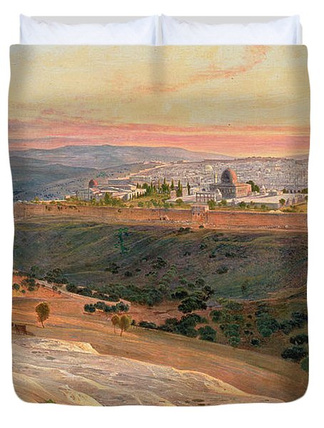 Jerusalem From The Mount Of Olives Duvet Cover by Edward Lear