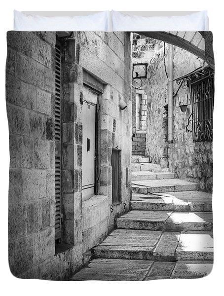 Jerusalem Street Duvet Cover by Alexey Stiop