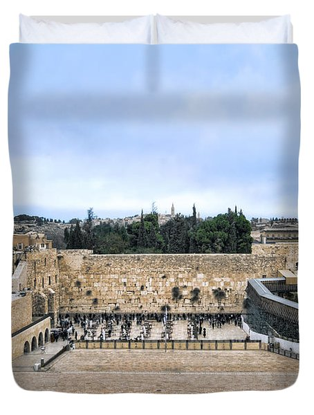 Jerusalem The Western Wall Duvet Cover by Ron Shoshani