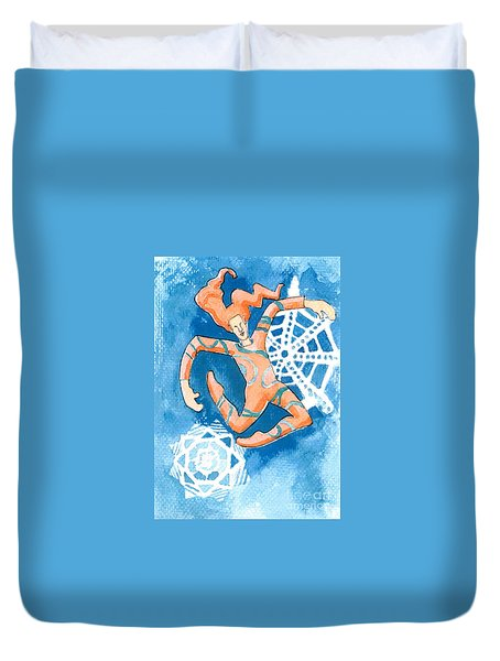Jester With Snowflakes Duvet Cover by Genevieve Esson