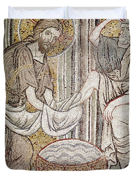 Jesus And Saint Peter, Detail From Jesus Washing The Feet Of The Apostle Mosaic Duvet Cover