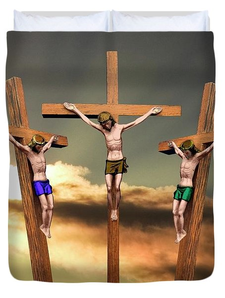 Jesus And The Two Thieves On The Cross Duvet Cover
