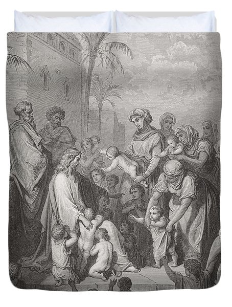 Jesus Blessing The Children Duvet Cover by Gustave Dore