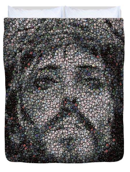 Jesus Bottle Cap Mosaic Duvet Cover by Paul Van Scott