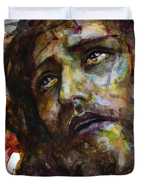 Duvet Cover featuring the painting Jesus Christ by Laur Iduc