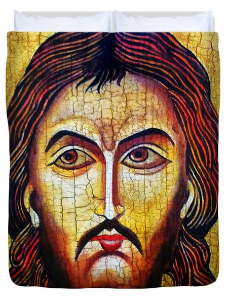 Jesus Christ Mandylion Duvet Cover by Ryszard Sleczka