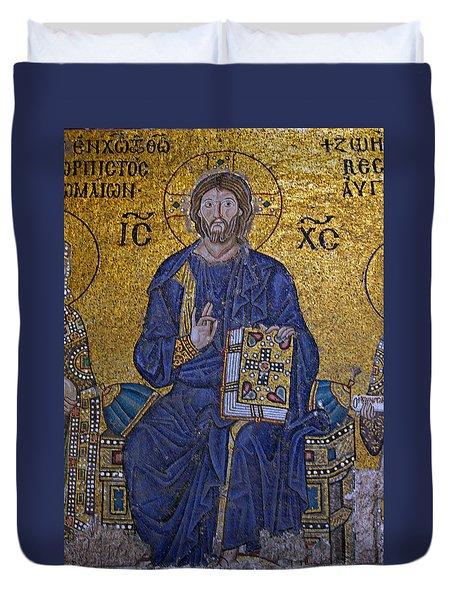 Jesus Christ Mosaic Duvet Cover by Stephen Stookey