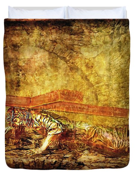 Jesus Falls Third Time Via Dolorosa 9 Duvet Cover by Lianne Schneider