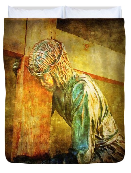 Jesus Falls Via Dolorosa 3 Duvet Cover by Lianne Schneider