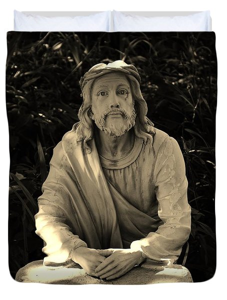 Jesus In The Garden Duvet Cover by Bob Sample