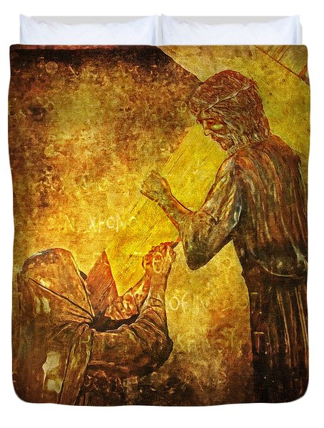 Jesus Meets His Mother Via Dolorosa 4  Duvet Cover by Lianne Schneider