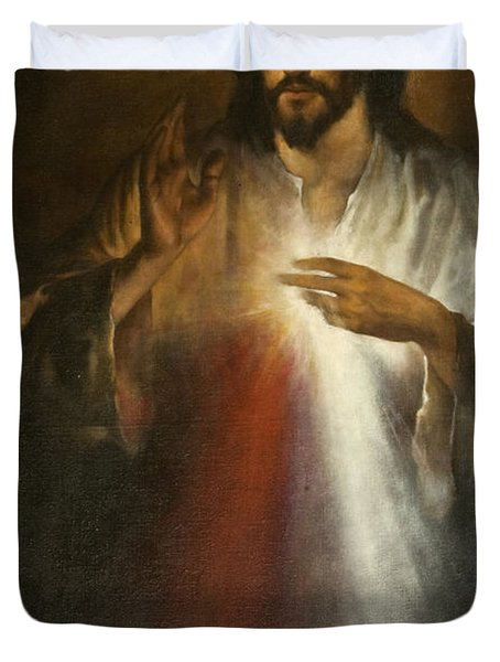 Jesus Of Divine Mercy Duvet Cover