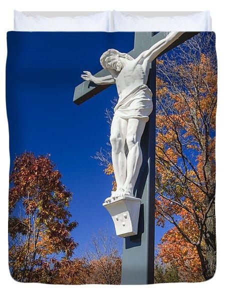 Jesus On The Cross Duvet Cover by Adam Romanowicz