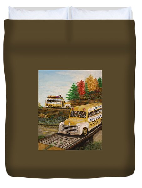 Jesus On Tour Duvet Cover by Larry Lamb
