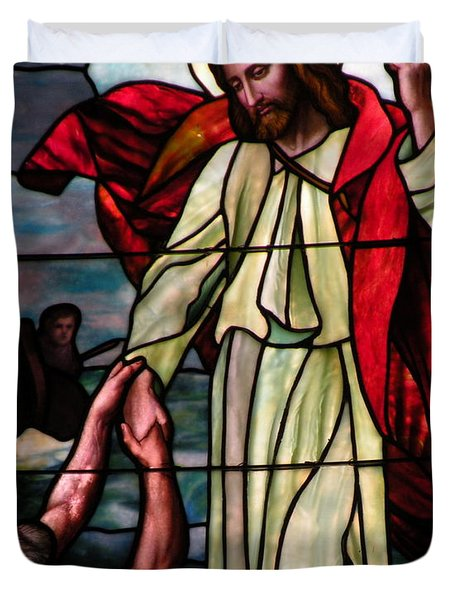 Jesus Rescues Peter From The Sea Duvet Cover by Kim Bemis