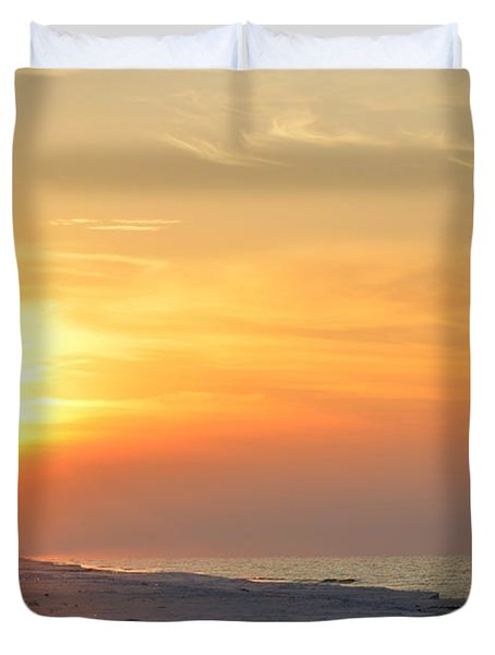 Jesus Rising On Easter Morning On Navarre Beach Duvet Cover by Jeff at JSJ Photography