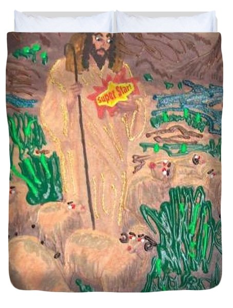 Duvet Cover featuring the painting Jesus The Celebrity by Lisa Piper