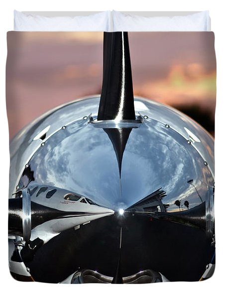 Duvet Cover featuring the photograph Airplane At Sunset by Carolyn Marshall