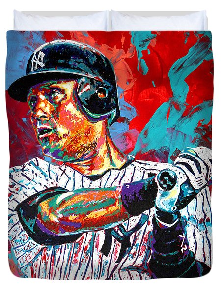 Jeter At Bat Duvet Cover