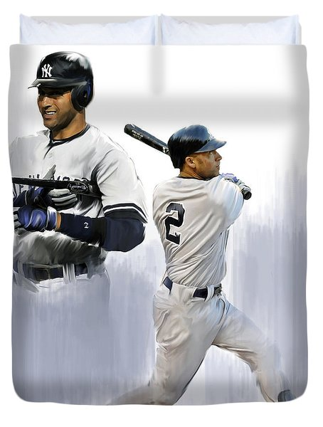 Jeter V Derek Jeter Duvet Cover by Iconic Images Art Gallery David Pucciarelli
